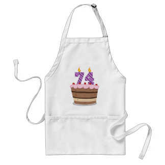 Age 74 on Birthday Cake Standard Apron