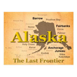 Aged Alaska State Pride Map Silhouette Postcard