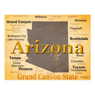 Aged Arizona State Pride Map Postcard