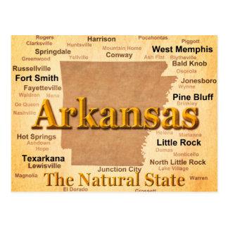 Aged Arkansas State Pride Map Postcard