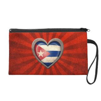 Aged Cuban Flag Heart with Light Rays Wristlet