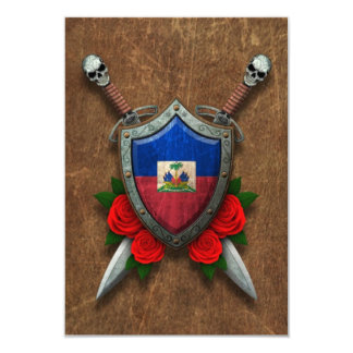 Aged Haitian Flag Shield and Swords with Roses 9 Cm X 13 Cm Invitation Card