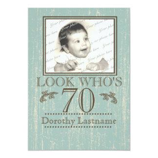 Aged Wood 70th Birthday Photo 13 Cm X 18 Cm Invitation Card
