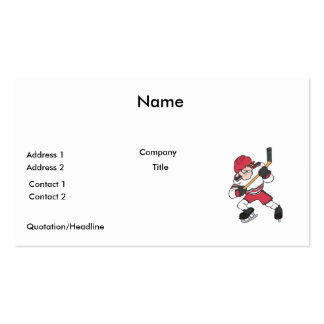 aggressive mean ice hockey player graphic pack of standard business cards