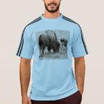 Aggressive wolf hunting bison tshirt