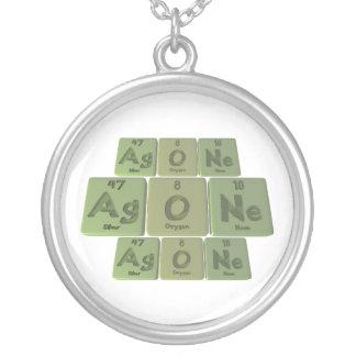 Agone-Ag-O-Ne-Silver-Oxygen-Neon Round Pendant Necklace