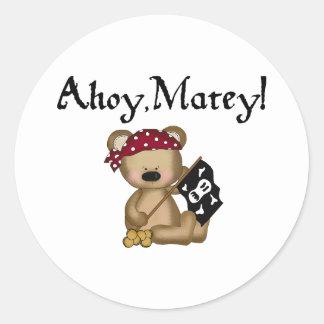 Ahoy Matey Teddy Bear Pirate Stickers