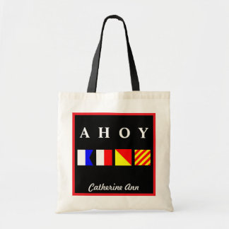 Ahoy Red Border Name Budget Tote Bag