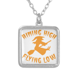 AimING High Flying low witch flying low HALLOWEEN Square Pendant Necklace