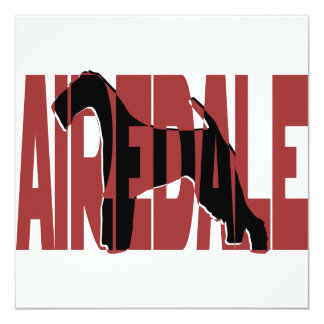 Airedale, King of Terriers, Silhouette 13 Cm X 13 Cm Square Invitation Card