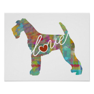 Airedale Terrier Love (Watercolor) Poster