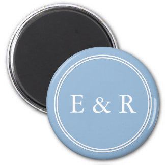 Airy Blue with White Wedding Detail 6 Cm Round Magnet