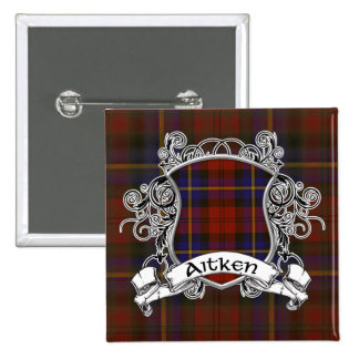 Aitken Tartan Shield 15 Cm Square Badge