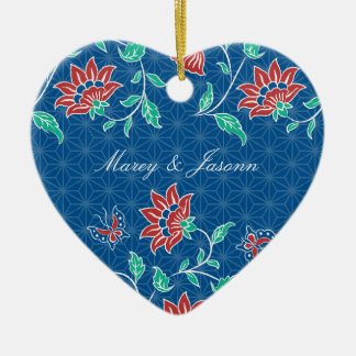 Aiyana Floral Batik Wedding Heart Ornament