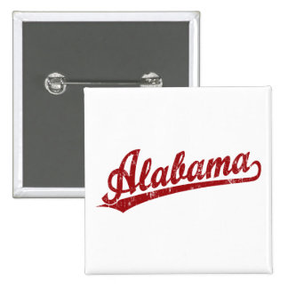 Alabama script logo in red 15 cm square badge