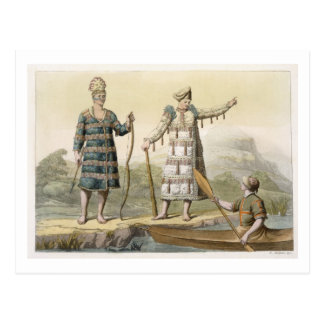 Alaskan man and woman (colour engraving) postcard