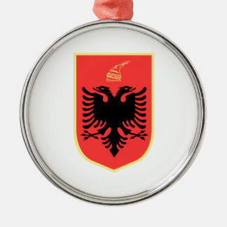 Albania Coat of Arms Silver-Colored Round Decoration