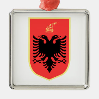 Albania Coat of Arms Silver-Colored Square Decoration