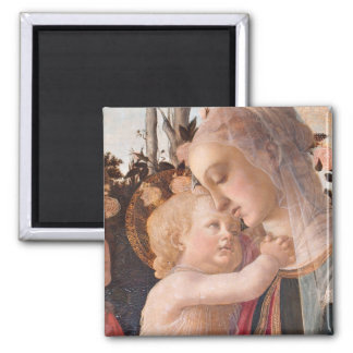 Alessandro Botticelli's The Virgin and Child Square Magnet