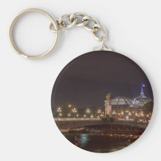 Alexander bridge and large palace At night Paris Basic Round Button Key Ring