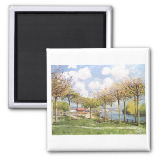 Alfred Sisley - Die Seine bei Bougival 1876 Square Magnet