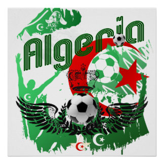 Algeria grunge football art soccer ball flag gifts poster