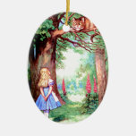 Alice and The Cheshire Cat in Wonderland Ceramic Oval Decoration