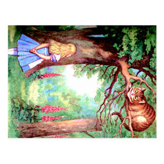 Alice and The Cheshire Cat in Wonderland Postcard