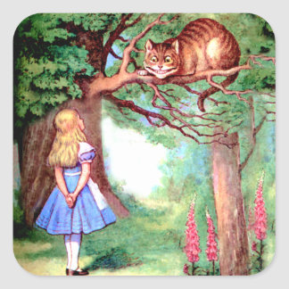 Alice and the Cheshire Cat in Wonderland Square Sticker
