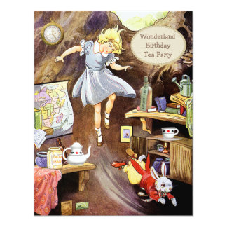 Alice Down the Rabbit Hole Birthday Tea Party 11 Cm X 14 Cm Invitation Card
