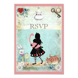 Alice, Flamingo & Cheshire Cat RSVP 9 Cm X 13 Cm Invitation Card