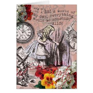 Alice in Wonderland Mad Hatter White Rabbit Greeting Card