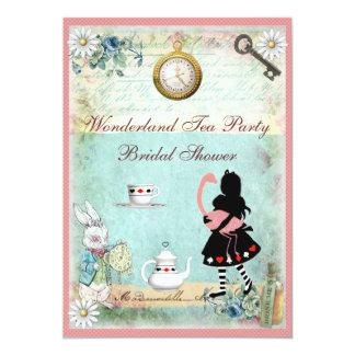 Alice & Pink Flamingo Bridal Shower Tea Party 13 Cm X 18 Cm Invitation Card