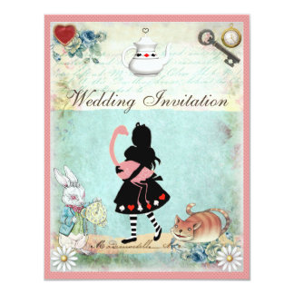 Alice, Pink Flamingo & Cheshire Cat Wedding 11 Cm X 14 Cm Invitation Card
