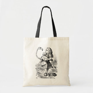 Alice trying to play croquet with a flamingo budget tote bag