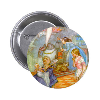 ALICEMEETS THE PIG BABY IN THE DUCHESS' KITCHEN 6 CM ROUND BADGE
