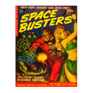 Alien and Spaceman Fighting Over Beautiful Woman Postcard
