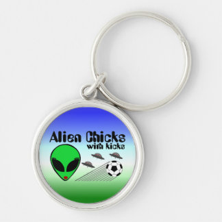 Alien Chicks with Kicks Silver-Colored Round Key Ring