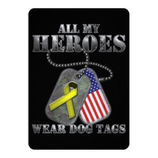 All My Heroes Wear Dog Tags 13 Cm X 18 Cm Invitation Card