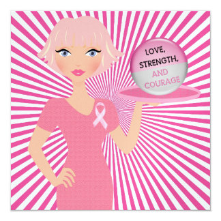 All Pink - Serving Love, Strength, and Courage 13 Cm X 13 Cm Square Invitation Card