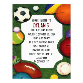 All sports theme birthday party invitations 21.5 cm x 28 cm flyer