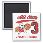 All Star Sports 3rd Birthday Square Magnet