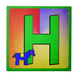 Alphabet Letter H Small Square Tile