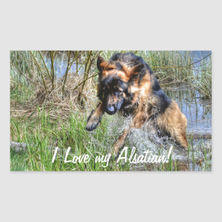 Alsatian Plush German Shepherd 5 Dog-lover Gift Rectangular Sticker