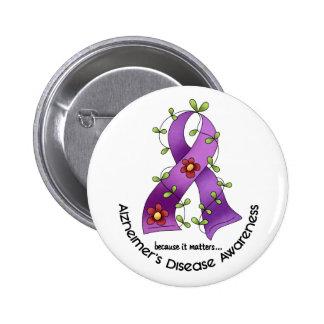 ALZHEIMER'S DISEASE AWARENESS Flower Ribbon 1 6 Cm Round Badge