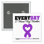 Alzheimer's Disease Every Day I Miss My Mother 15 Cm Square Badge