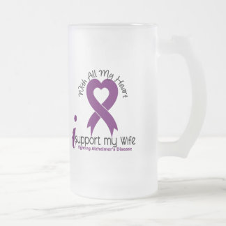Alzheimers Disease I Support My Wife Frosted Glass Mug