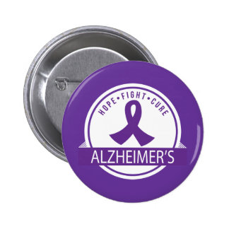 Alzheimer's Hope Fight Cure Ribbon 6 Cm Round Badge