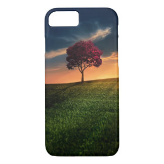 Amazing Landscape with a Red Tree at Sunset iPhone 7 Case