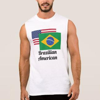 American And Brazilian Flag Sleeveless Shirts